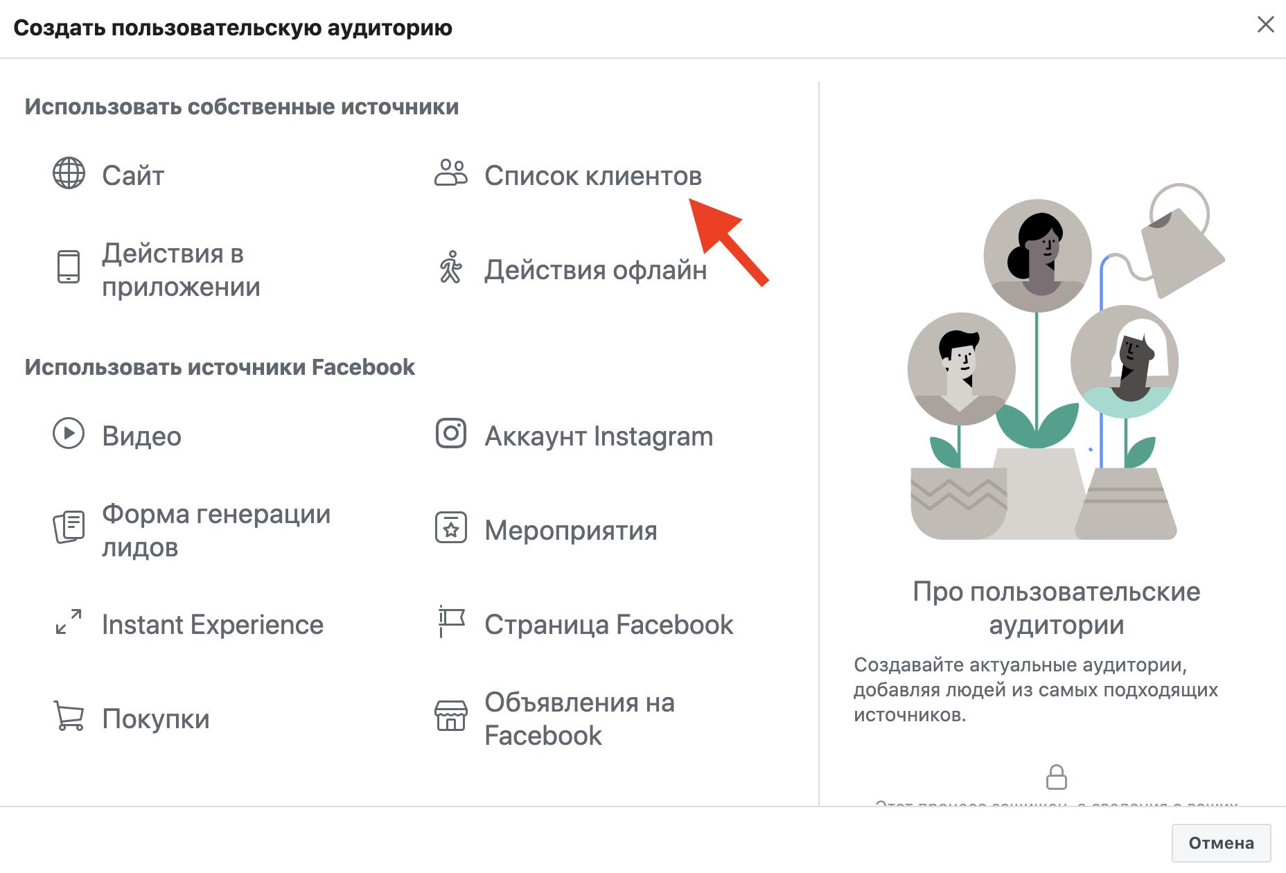 Индивидуальные аудитории Facebook