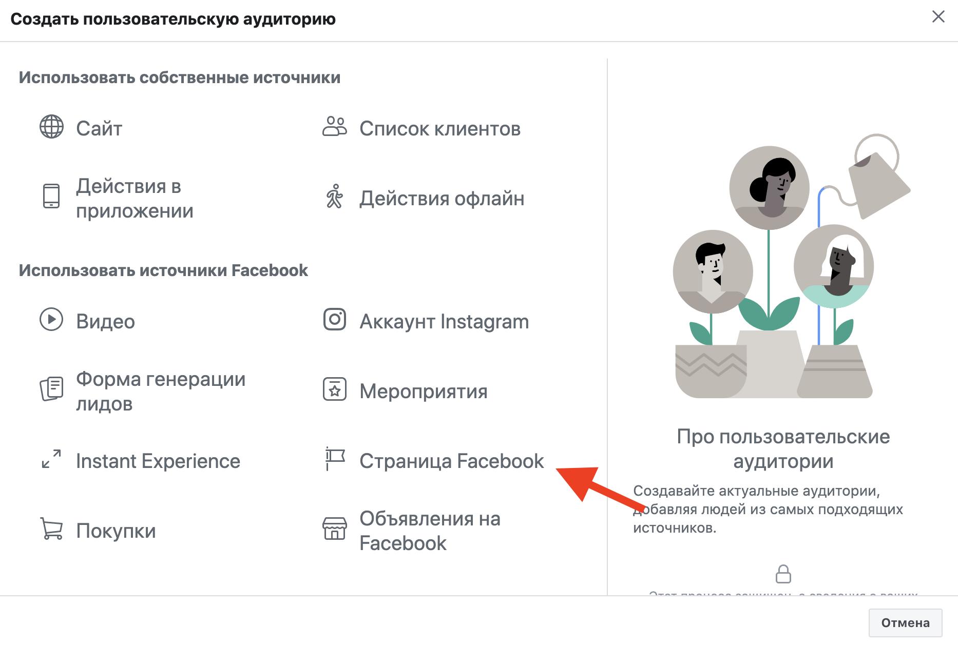 Создание индивидуализированной аудитории на основе вовлеченности Facebook